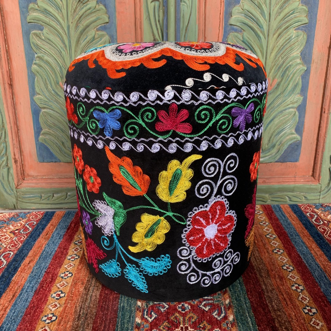 Vintage Suzani Round Pouf-Szn001