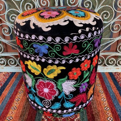 Vintage Suzani Round Pouf-Szn002