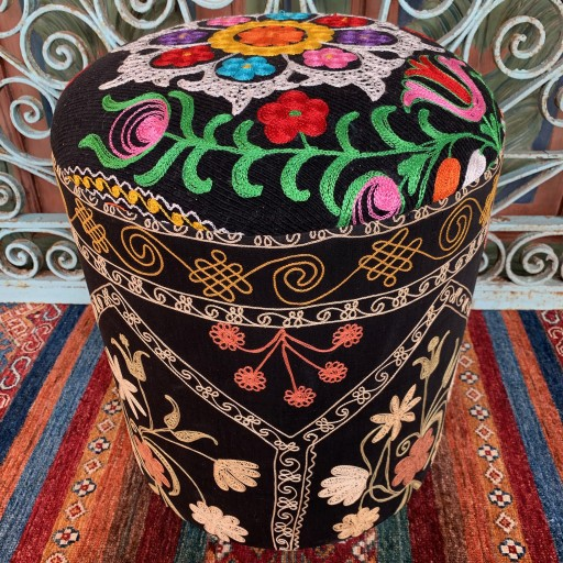 Vintage Suzani Round Pouf-Szn003