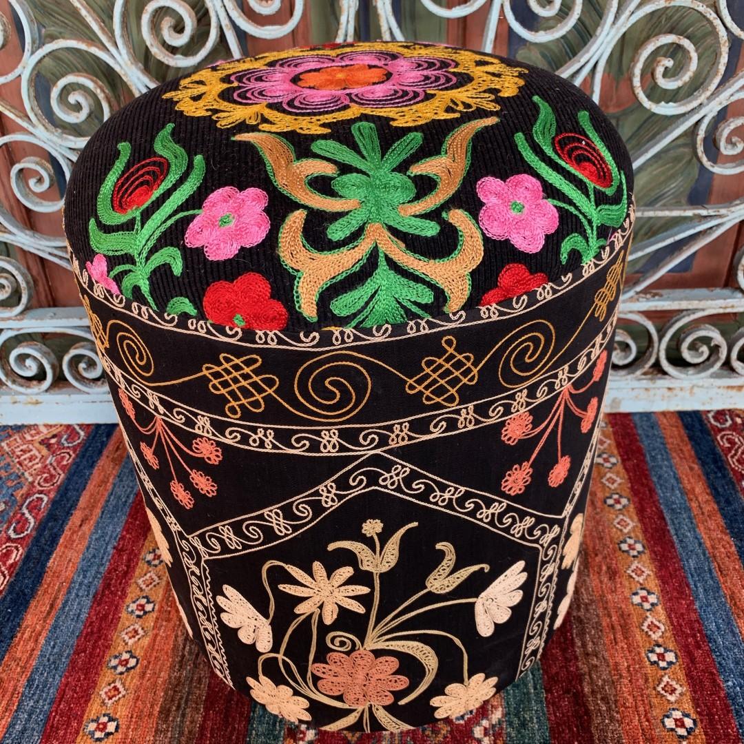 Vintage Suzani Round Pouf-Szn004