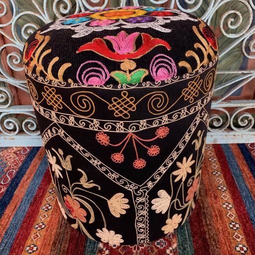 Vintage Suzani Round Pouf-Szn005