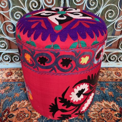 Vintage Suzani Round Pouf-Szn007