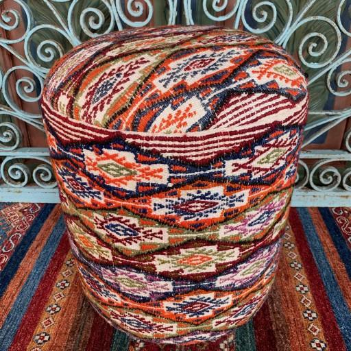 Vintage Anatolian Round Cicim Pouf-Klpf001