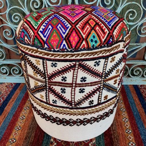 Vintage Anatolian Round Cicim Pouf-Klpf002