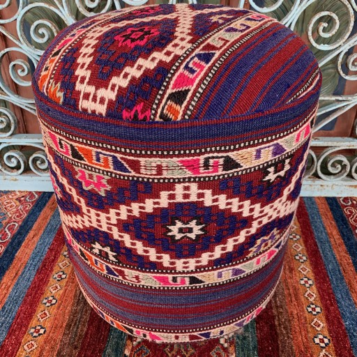 Vintage Anatolian Cicim Round Pouf-Klpf003