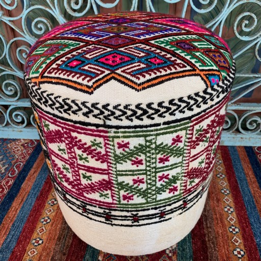Vintage Anatolian cicim Round Pouf--Klpf005