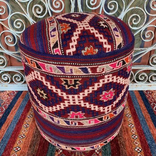 Vintage Anatolian Cicim Round Pouf-Klpf006