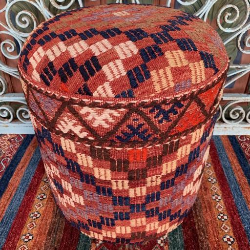 Vintage Anatolian Cicim Round Pouf-Klpf007