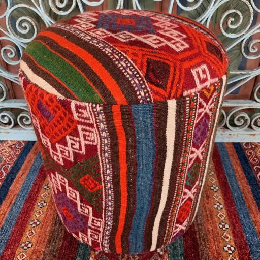 Vintage Anatolian Cicim Round Pouf-Klpf008