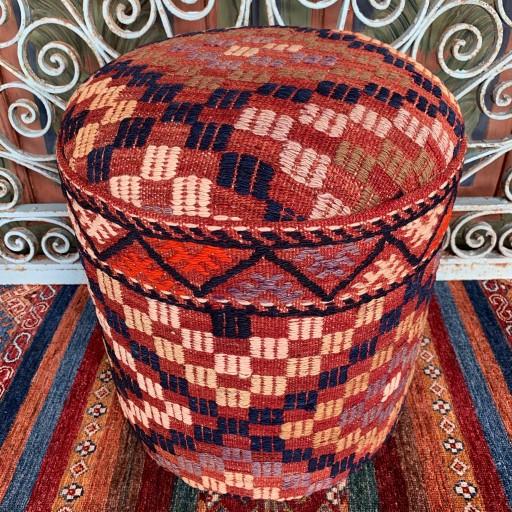 Vintage Anatolian Cicim Round Pouf-Klpf009