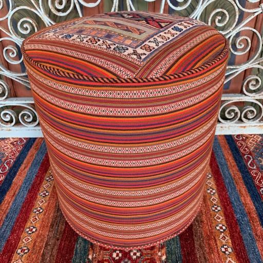 Vintage Sumak Rah Rah Round Pouf-Klpf010