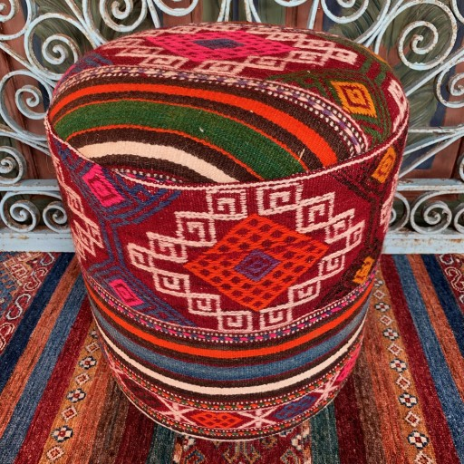 Vintage Anatolian Cicim Round Pouf-Klpf011