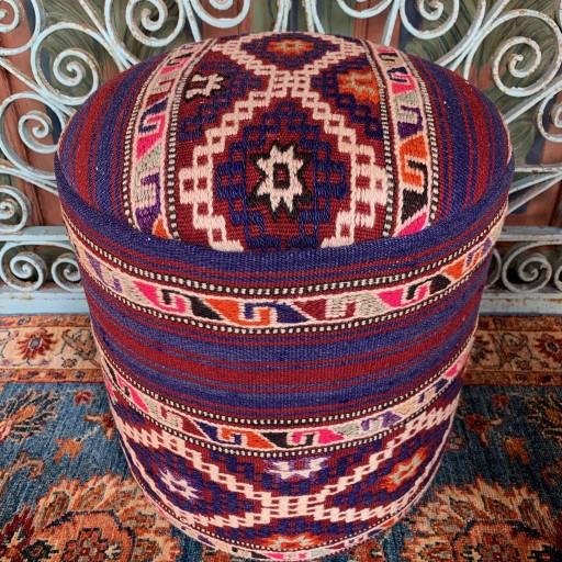 Vintage Anatolian Cicim Round Pouf-Klpf012
