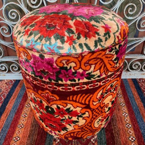 Vintage Anatolian Velvet Round Pouf--Vlv013