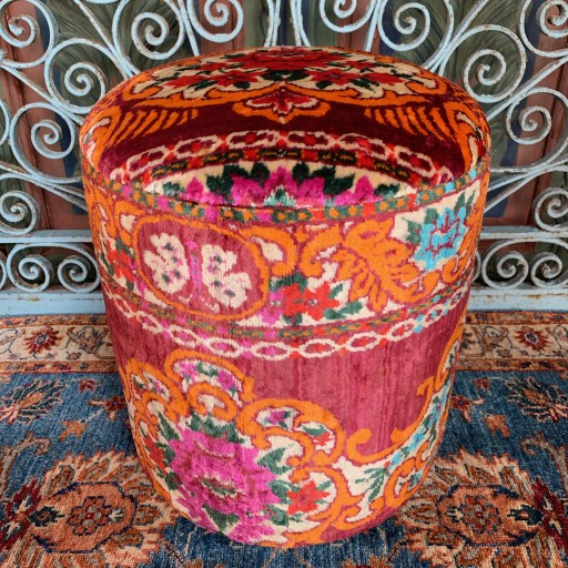 Vintage Anatolian Velvet Round Pouf--Vlv016