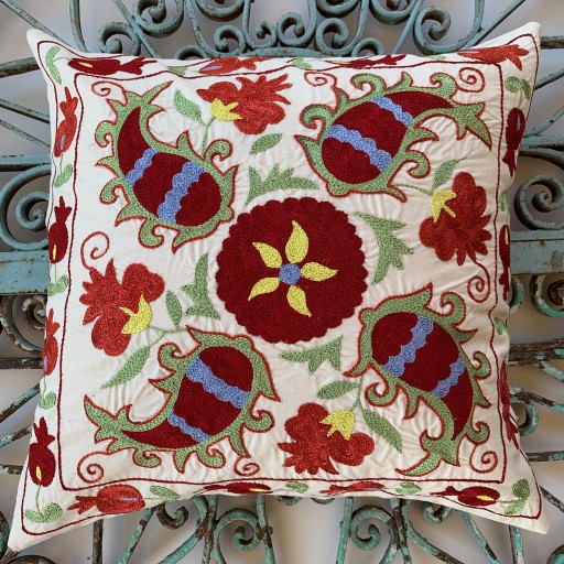 Suzani Silk / Cotton Cushion-Slc004