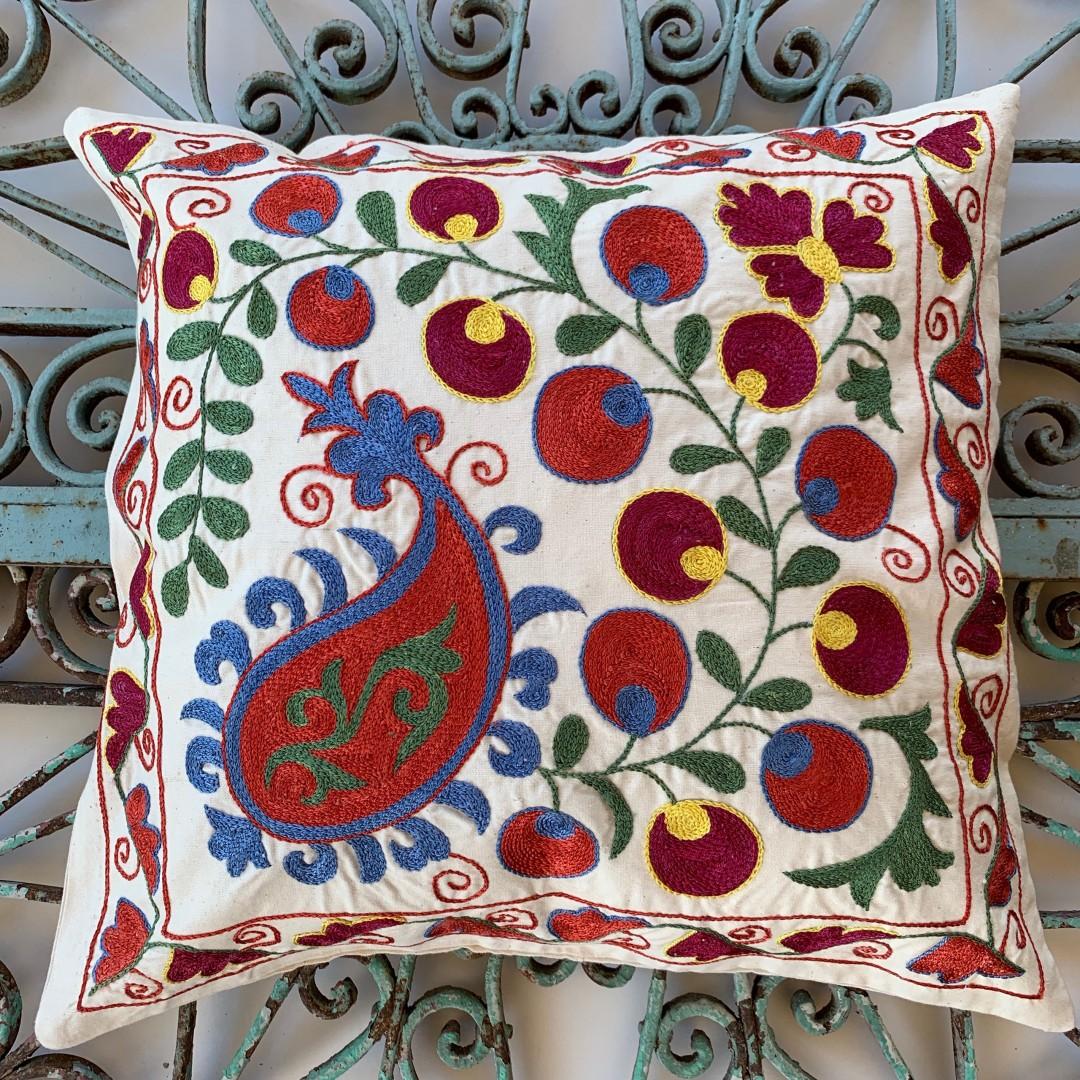 Suzani Silk / Cotton Cushion-Slc005