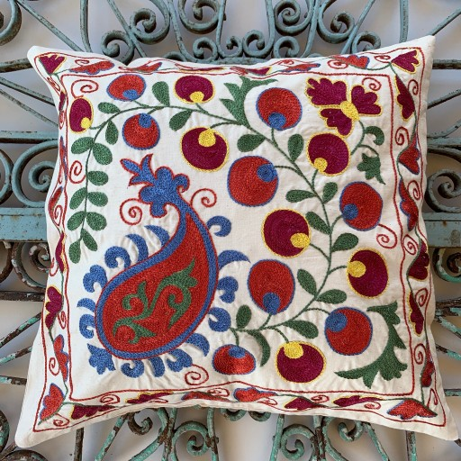 Suzani Silk / Cotton Cushion-Slc005