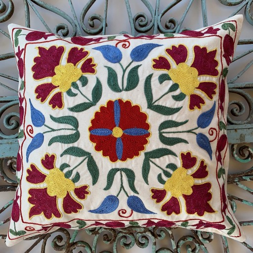 Suzani Silk / Cotton Cushion-Slc006