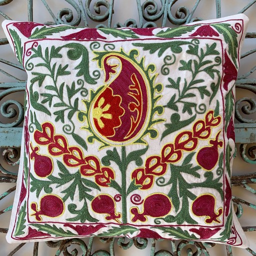 Suzani Silk / Cotton Cushion-Slc007