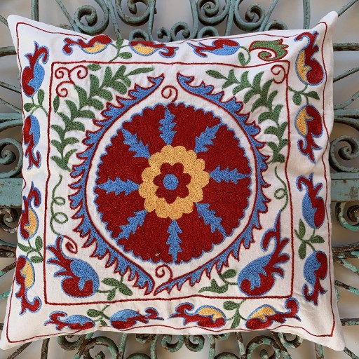 Suzani Silk / Cotton Cushion-Slc009