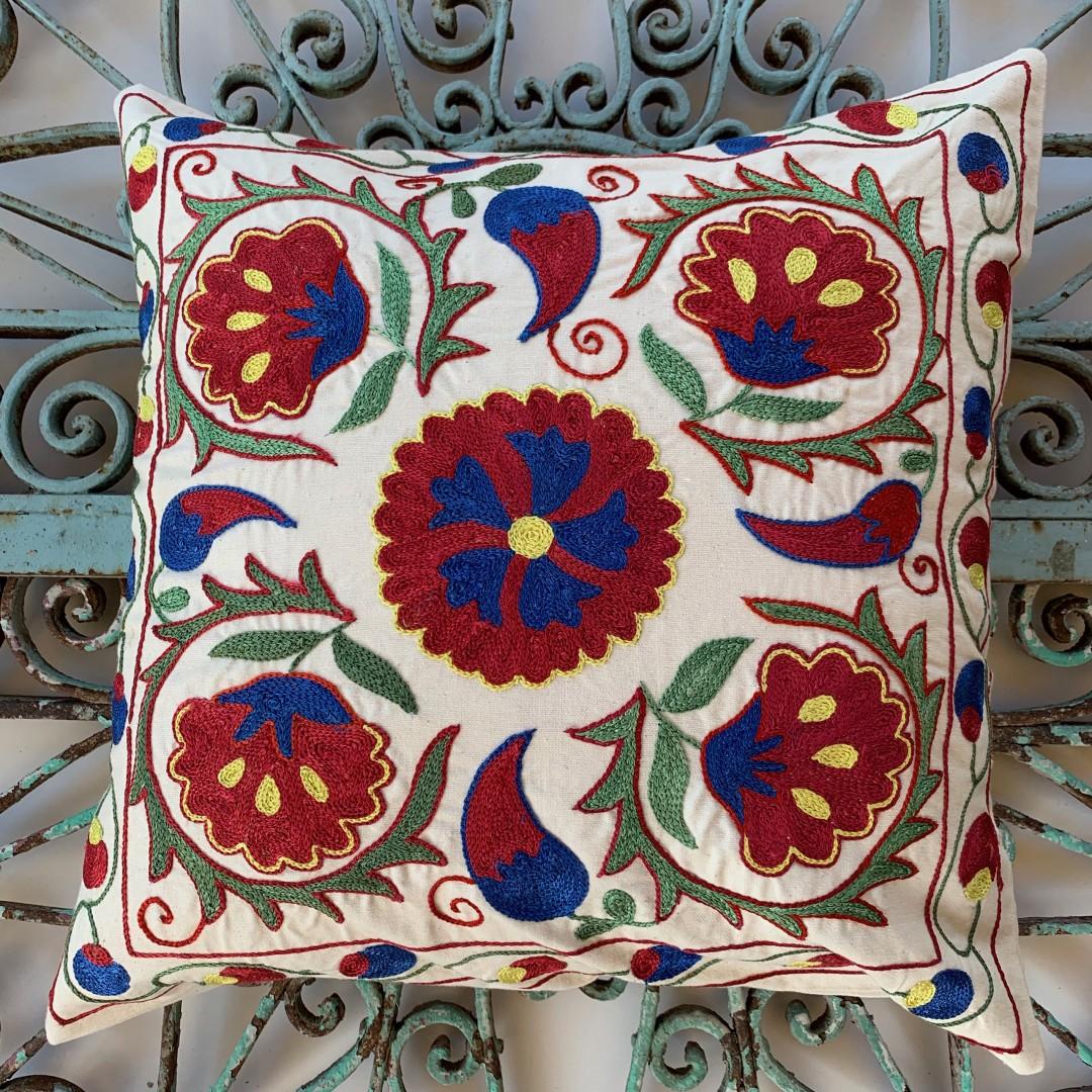 Suzani Silk / Cotton Cushion-Slc010
