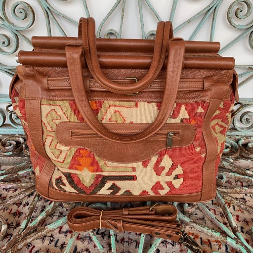 Handmade Leather / Kilim Bag-Bag003
