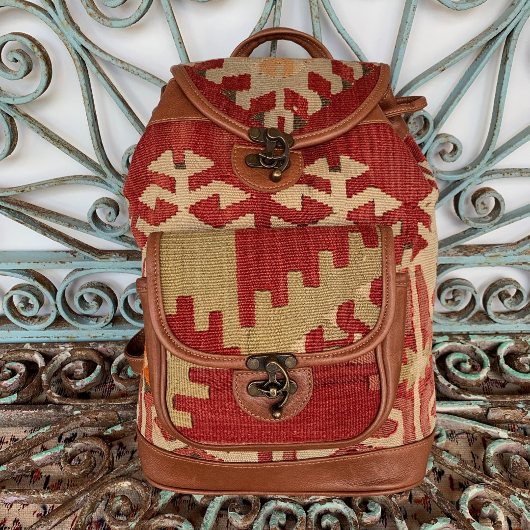Handmade Leather / Kilim Bag-Bag004