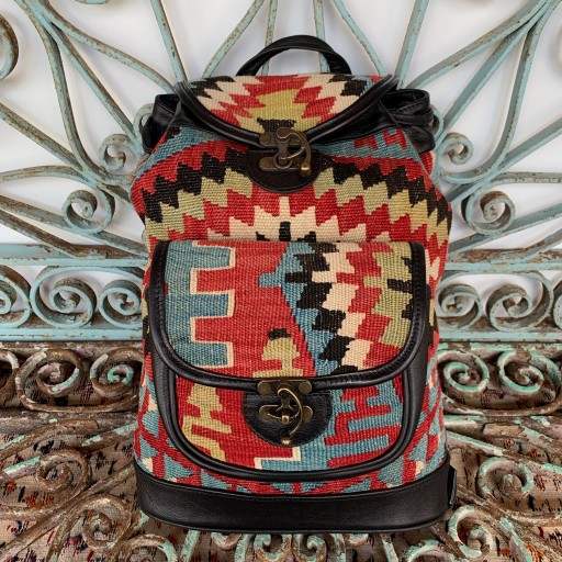 Handmade Leather / Kilim Bag-Bag005