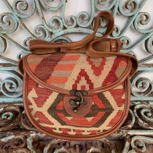 Handmade Leather / Kilim Bag-Bag012