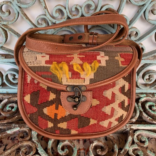 Handmade Leather / Kilim Bag-Bag013