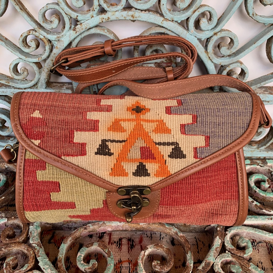 Handmade Leather / Kilim Bag-Bag015