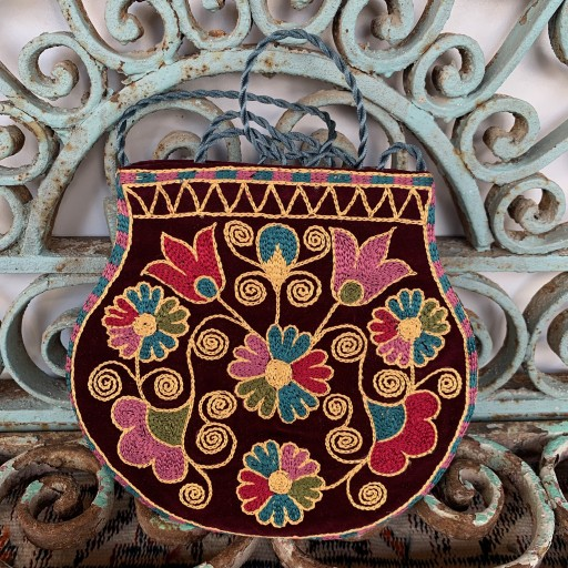 Hand Embroidered Silk Bag-Bag025