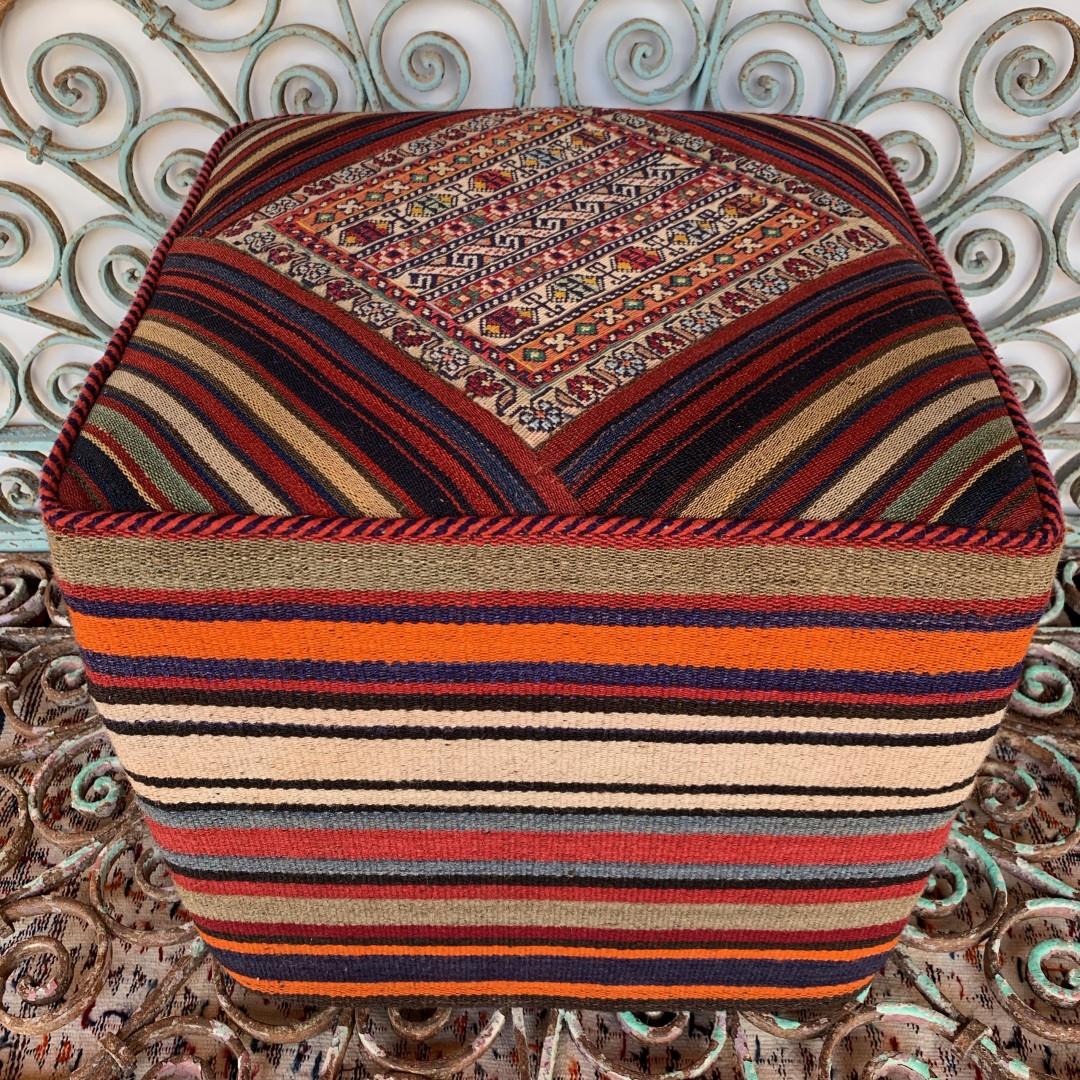 Vintage Square Kilim Pouf-Klpf017