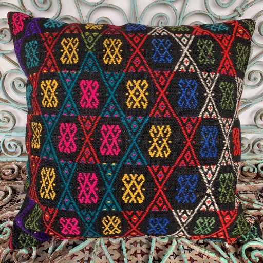 Vintage Kilim Floor Cushion-Klm138
