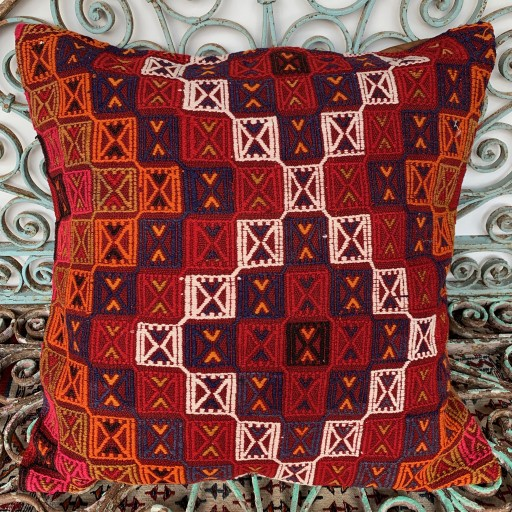 Vintage Kilim Floor Cushion-Klm141