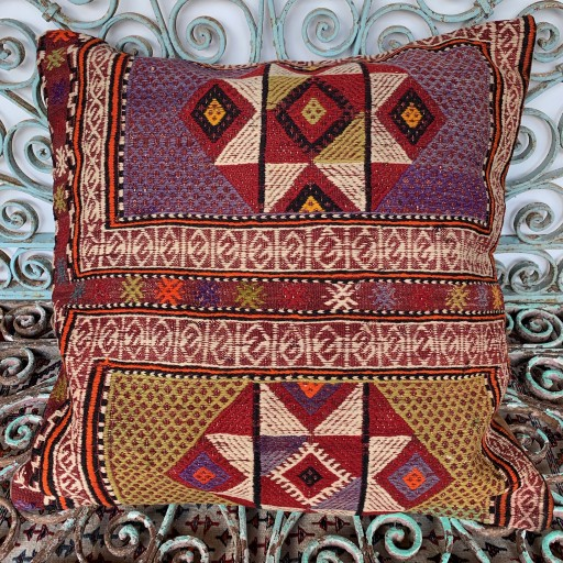 Vintage Kilim Floor Cushion-Klm144